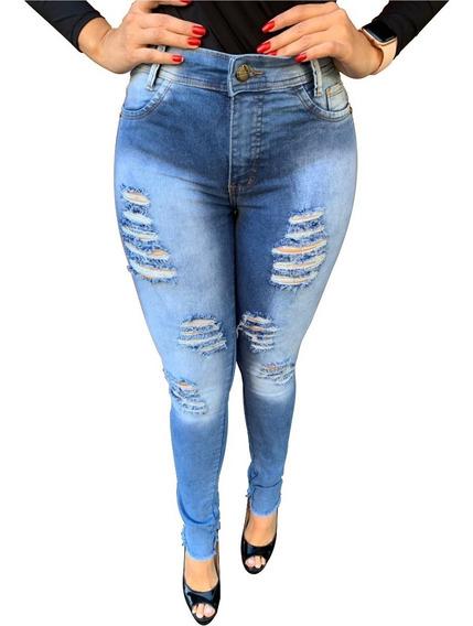 Calça Jeans Feminina Cintura Alta Lycra Luxo