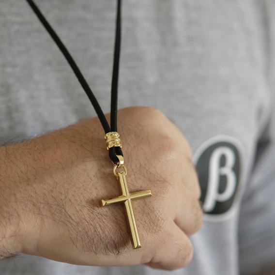 Crucifixo Ouro Cordão Em Camurça 60cm