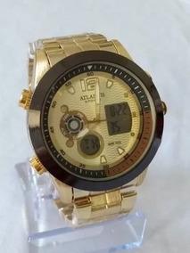 Relógio Analógico Digital Dourado Atlantis G-6652 Em 12x