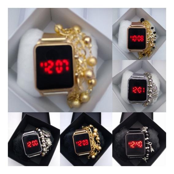 Relógios Digital Quadrado+ Caixa & Pulseira - 10 Unidades