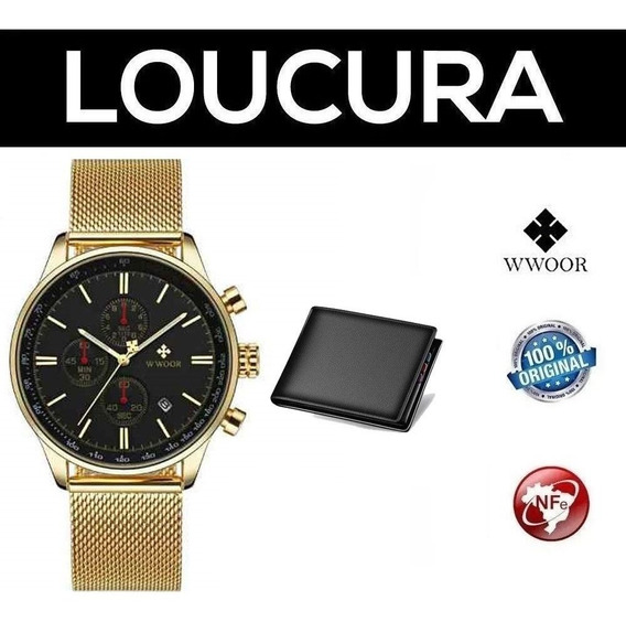 Relógio Pulso Masculino Original Wwoor + Carteira Brinde