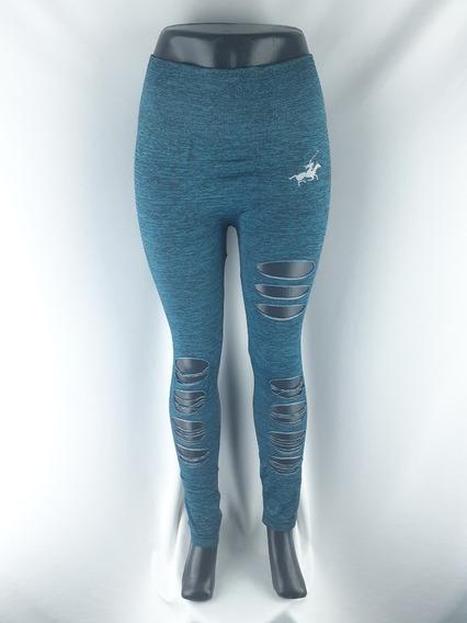 Leging Mayon Colombiana Gym Mujer Transparencia Rasgado Azul