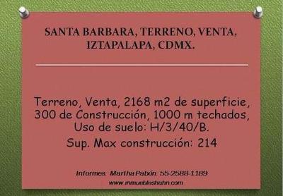 Terreno, Venta, Barrio De Santa Barbara, Iztapalapa, Cdmx