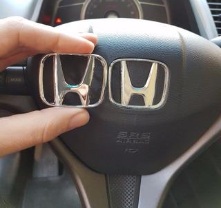 Logo Cromado Honda Para Volante Plata Brillante 43mm X 53mm
