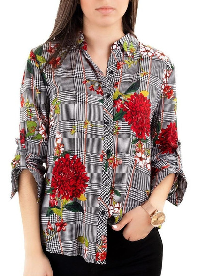 Camisa Negra Floral De Cuadros - Julia