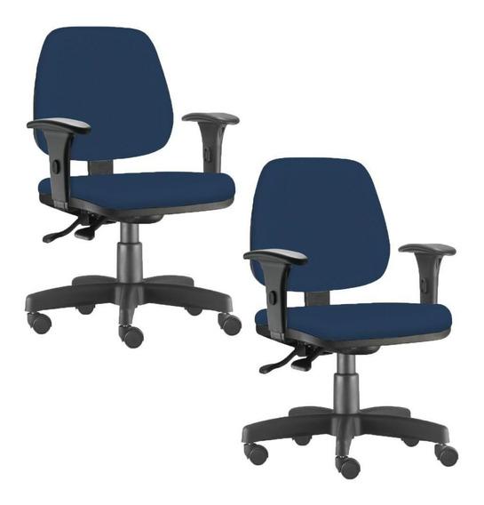 Kit 02 Cadeiras Giratória Job Escritório Suede Azul Marinho