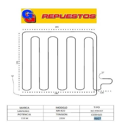 Resistencia De Aluminio Heladera Samsung Sr 522 No Frost 460