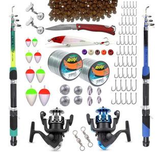Kit Pesca C/ 2 Varas Telescópicas E 2 Molinetes+ Acessórios