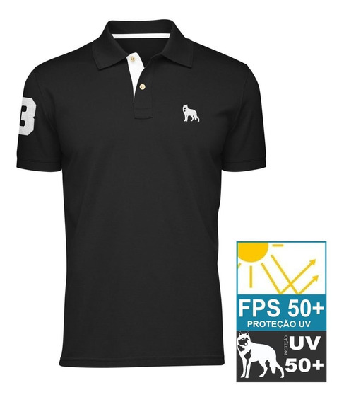 Camisa Polo Lobo Branco Vip Preta Fps 50+