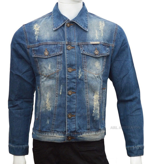 Blusa Masculina Jaqueta Jeans Rasgado Destoyed Slim