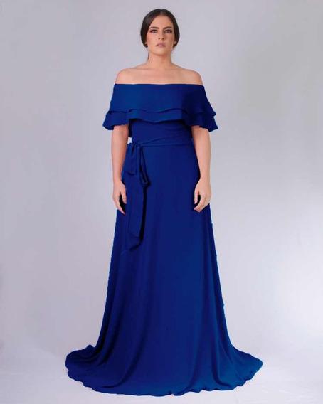 Vestido Longo Festa Azul Royal Madrinha De Casamento