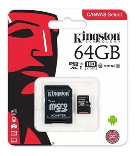 Memoria Micro Sd 64gb Hc Kingston Class 10 Canvas Original