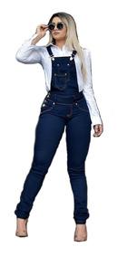 Macacão Jeans Liso Moda Atual Blogueira Verão Envio Rápido!
