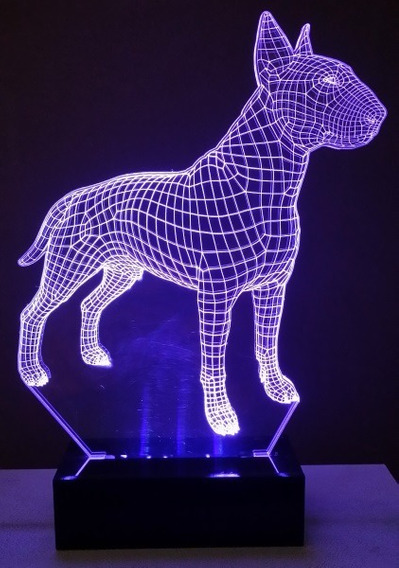 Luminária Cão Bull Terrier Abajur Display Led Rgb 3d
