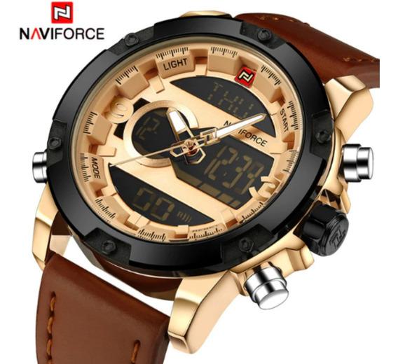 Relógio Masculino Naviforce 9097 Original Couro Luxo + Caixa