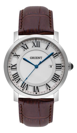 Relógio Masculino Prata Orient Couro Números Romanos Data+nf