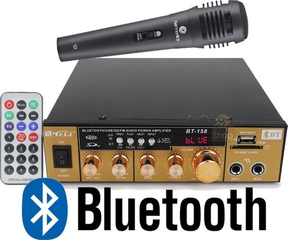 Amplificador Áudio Receiver Bluetooth Som Ambiente Fm Aux