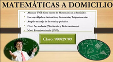 Profesor Particular Alumno Uni Dicta Matemáticas A Domicilio