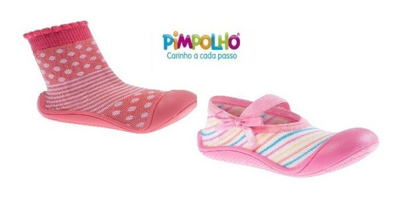 Kit C/2 Meia Sapatilha Com Sola Infantil Menina Pimpolho