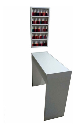 Imagem 1 de 3 de Mesa Manicure 60x77x30cm + Organizador Esmaltes 30x60x7 Mdf