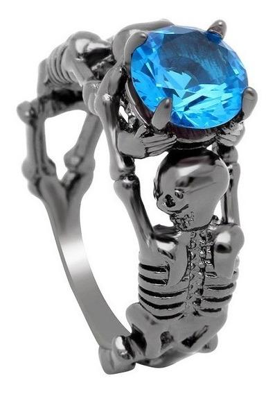 Anel 2 Esqueleto Skull Feminino Pedra Preta Gráfite Ju Uva