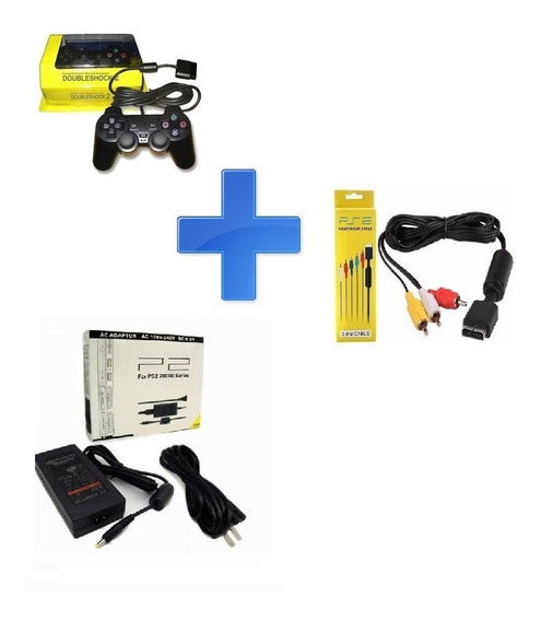 Kit Para Playstation 2 Ps2 - Controle, Fonte E Cabo Av