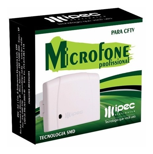 Microfone Ipec Amplificado Para Cftv Dvr Profissional Novo
