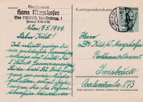 Alemania 1949 Carta Postal Wien-innsbruc Con Estampilla Al46