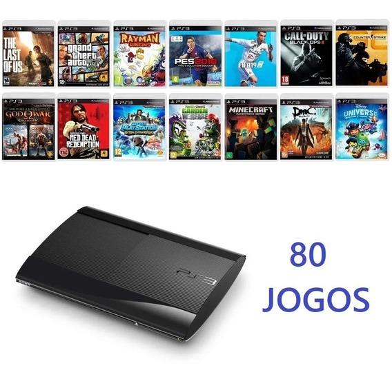 Playstation 3 Ps3 250 Gb Super Slim + 80 Jogos Originais