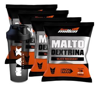 Combo 4x Maltodextrina -1000g - New Millen + Coqueteleira