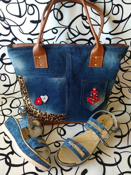 Combo Zapato Sandalia Y Cartera En Jeans Moda Envío Gratis