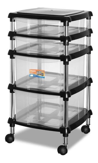 Organizador Multiuso Preto Quarto/cozinha 620-7 Gaveteiro