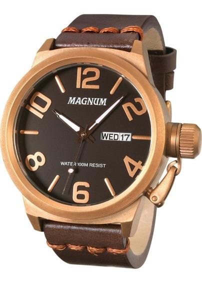 Relógio Magnum Maculino Marrom Ma33399m Frete Gratis Nf.