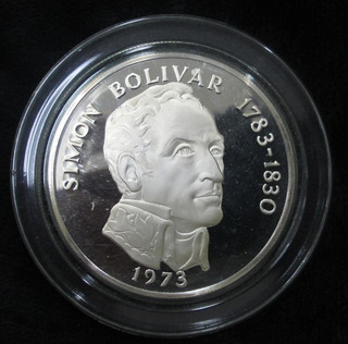 Moneda De Plata De 4 Onzas, Bolivar, 20 Balboas. Panamá