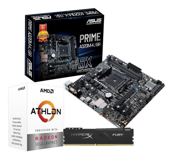 Kit Processador Amd Athlon 3000g Asus A320m-k 8gb Hx Fury