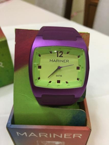Relógio De Pulso Mariner Sport 2035 Roxo E Verde 5atm
