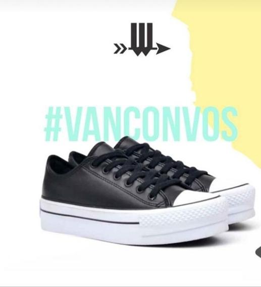 Zapatillas De Cuero Con Plataforma Marca Woolly