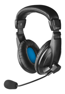 Audifonos Diadema Trust Quasar 3.5 Mm Negro Con Microfono