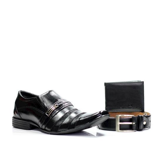 Sapato Social Owen Preto+carteira Gr01 Preta+cinto 601 Preto