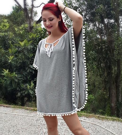 Vestido Poncho Moda Feminina Branco Pom Pom Saída De Praia