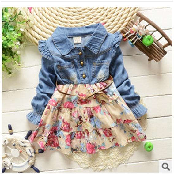 Vestido Jeans Infantil Floral Com Cinto