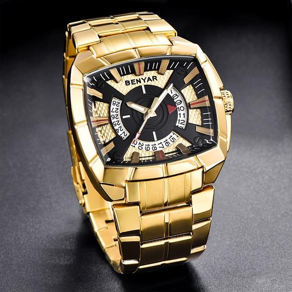Relógio Pulso - Benyar Quadrado - 46mm - Dourado - Hardlex