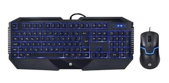 Kit Teclado E Mouse Gamer Hp Gk1100 Abnt Usb 1600dpi Com Led