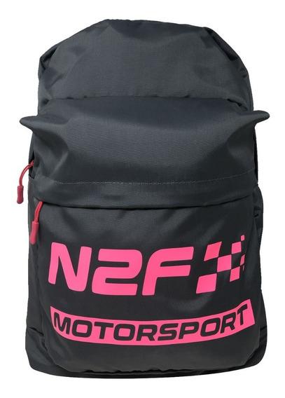 Backpack Mochila N2f Motorsport Gris Y Fuccia Bp007