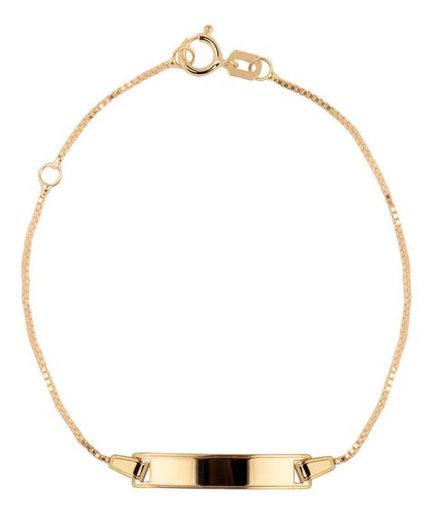 Pulseira De Ouro 18k Veneziana Com Placa Personalizável
