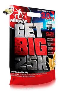 Hipercalórico Mass Get Big 25000 3kg Midway Original Com Nf