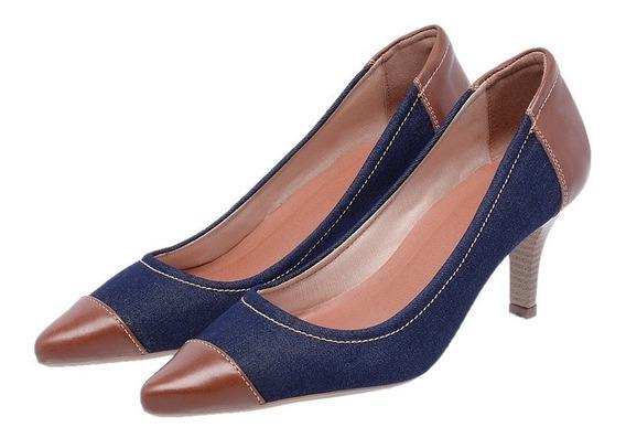 Sapato Feminino Scarpin Mz Couro Salto Ref 3082 Frete Gratis