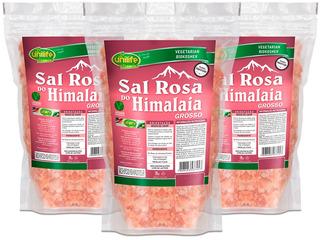 Sal Rosa Do Himalaia Grosso 3 X 1kg Original - Unilife