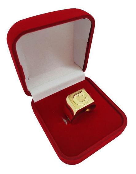Anel De Letra Masculino Ouro 18kl/750 8 Gramas Frete Grátis