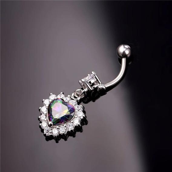 Piercing Feminino Coração Cristal Umbigo Zircônia Joia C134